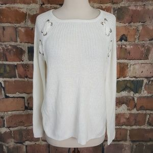 Saks Fifth Avenue Knit Sweater White S NWT
